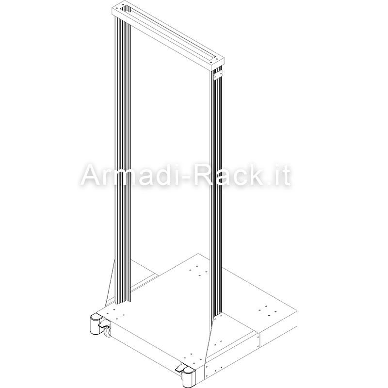 telaio rack da laboratorio in profili estrusi di alluminio