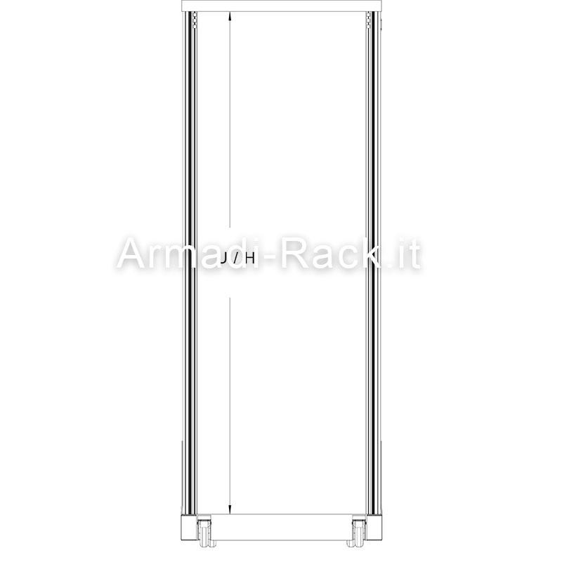 open frame singolo in estruso di alluminio anodizzato naturale vista frontale