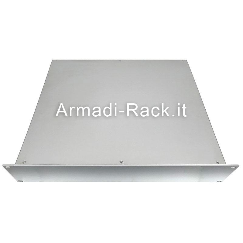 cassetto rack 19 pollici in alluminio senza maniglie