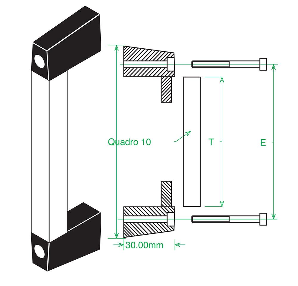 maniglia composta in alluminio tubolare anodizzato e plastica