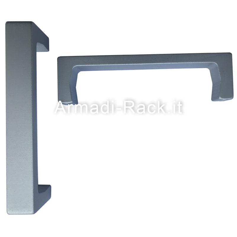 maniglia a ponte doppia sezione monoblocco in alluminio anodizzato naturale