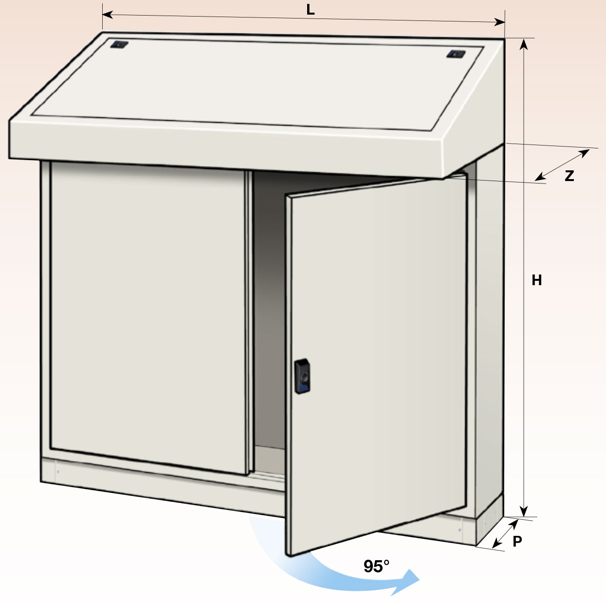 consolle pulpito leggio con doppia porta e piastra ip55
