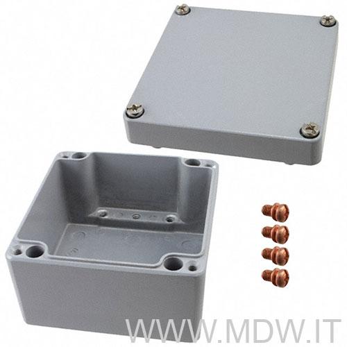 MBA 121290 (122x120x90 mm) custodia in alluminio a norma DIN EN 60529, IP66, colore grigio RAL 7001