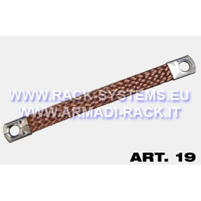 Piattina flessibile di messa a terra con terminali ad occhiello, treccia in filo di rame sezione 16 mmq