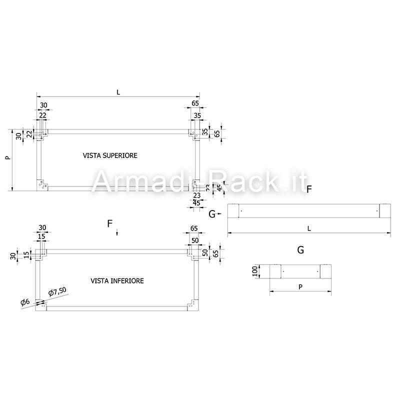 Struttura armadio dimensioni in mm l 1200 h 1800 p 500 for Dimensioni armadio
