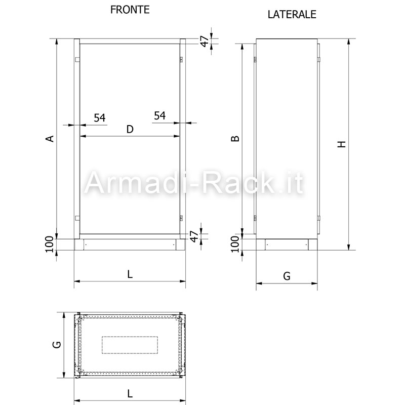 Struttura armadio porta con finestra posteriore dimensioni in mm l 1200 h da armadi rack - Dimensioni standard finestre ...