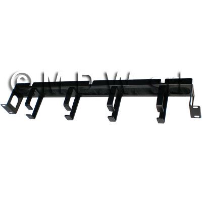 Recessed cable management bar 4 ring Black RAL9005