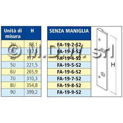 Flangia 19 pollici per contenitore rack serie 2000 alto 6HE