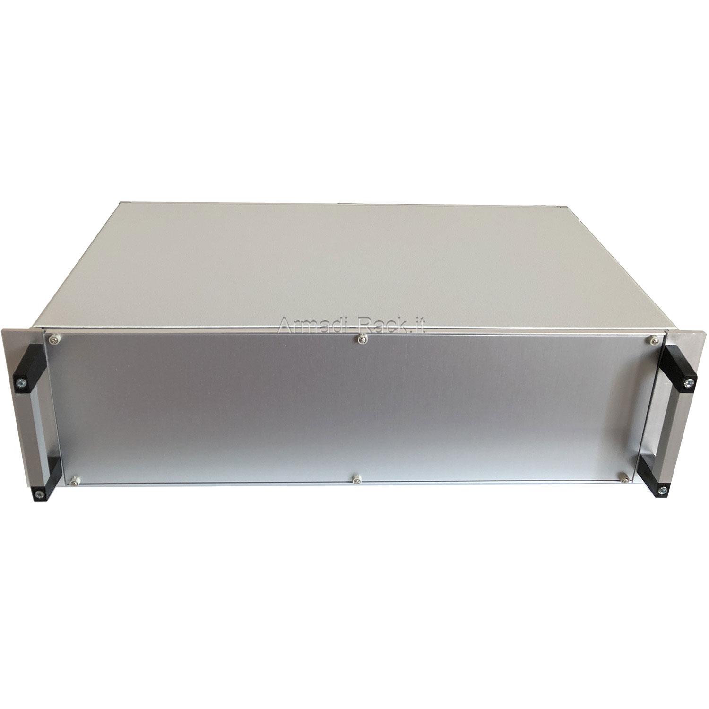 Contenitore con flange e maniglie, per elettronica su piastra o guide scheda, di dimensioni 2U 42TE P=358,4