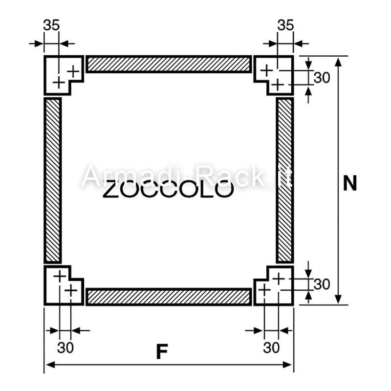 Zoccoli supplementari H=100 dimensioni 988 x 348 per codici 1931-1971-2931-2971-3971
