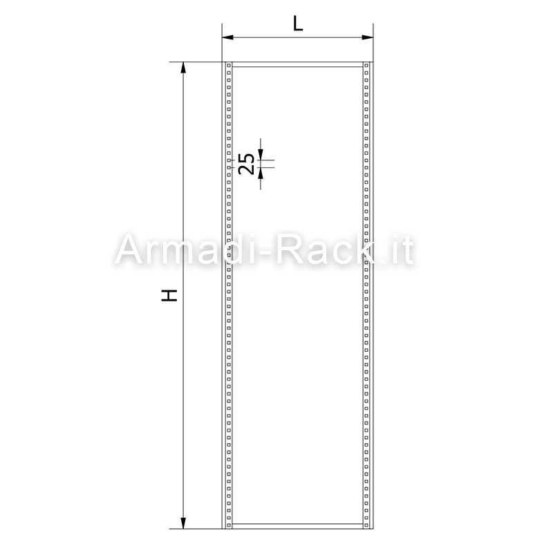 Telaio interno per pannelli modulari per armadi di dimensioni 600 x 2000
