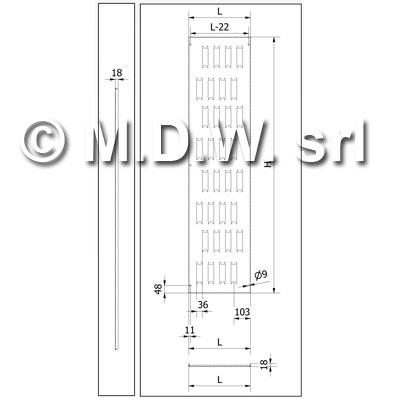 Separatore verticale forato x connettori per armadi profondi 500 ed alti 1800