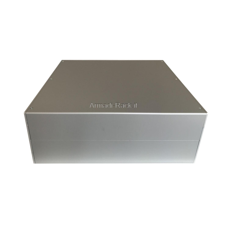 Custodia in alluminio doppio guscio a 'C' uniti da frontale e posteriore H=130, L=333, P=357 mm