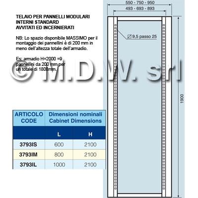 Telaio interno per pannelli 3000 da armadi rack for Un telaio interno
