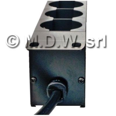 Multipresa 1 unità rack 19 pollici, 6 prese Unel universali 10/16A, Alimentazione diretta, Serie ALUMY struttura in alluminio estruso, con spina cavo alimentazione schuko 230 V