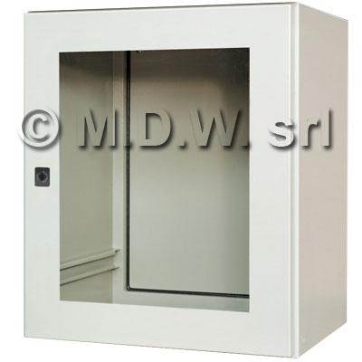 Base con porta in cristallo, dimensioni 600L x 700H x 500P