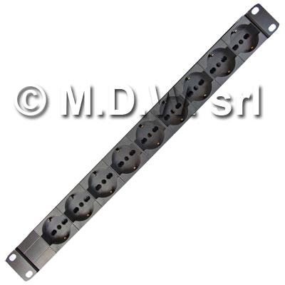 Multipresa 1 unità rack 19 pollici, 9 prese Unel universali 10/16A, Alimentazione diretta, Serie ALUMY struttura in alluminio estruso, con spina cavo alimentazione schuko 230 V