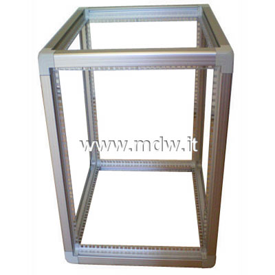 Telaio rack open frame 19 pollici - 30u x 596 x 551 (l x p mm), in alluminio anodizzato