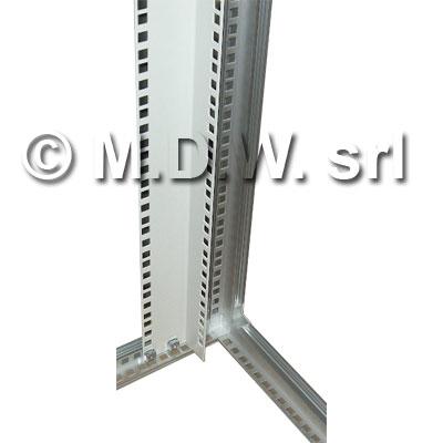 MONTANTE RACK 36 UNITA', profilo ad ''L'' in acciaio verniciato con fori quadri passo rack per dadi in gabbia