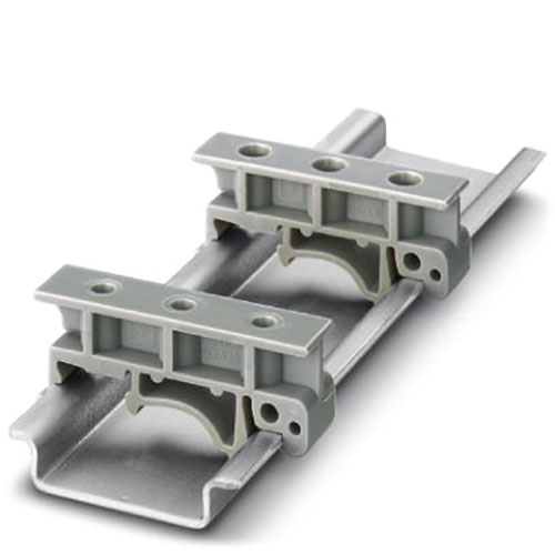Adattatore barra DIN in plastica, Rail adapters, for M3 screws, Length: 42.6 mm, Width: 10 mm, Height: 19 mm, Color: gray