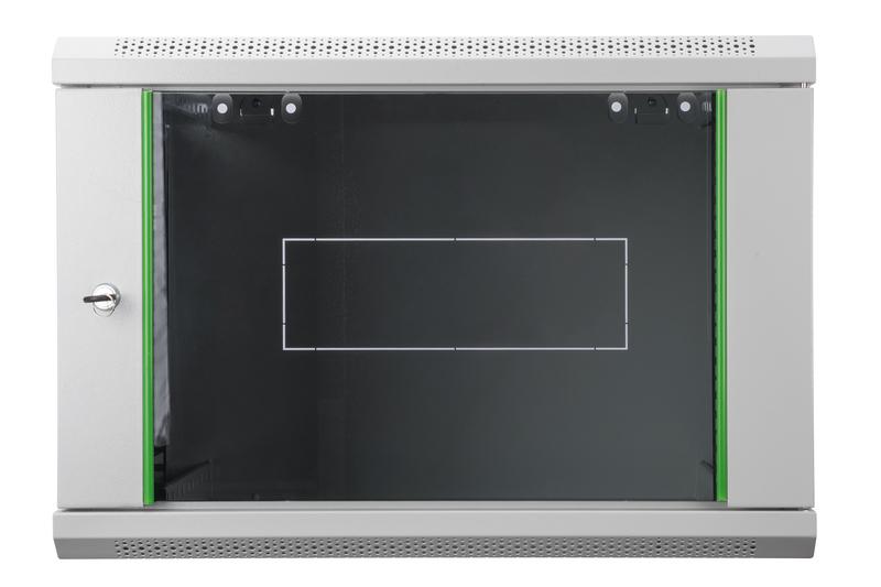 Armadio rack 9 unità da muro linea soho (a) 505 x (l) 600 x (p) 450 mm. colore grigio chiaro RAL 7035