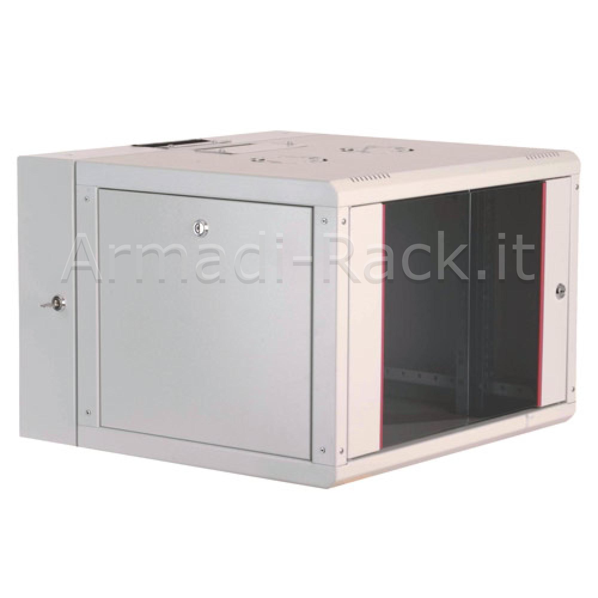 Armadio rack 9 unità da muro linea soho (a) 509 x (l) 600 x (p) 600 mm. con doppia sezione colore grigio chiaro ral 7035