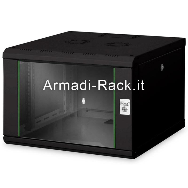 Armadio rack 9 unità da muro linea soho (a) 509 x (l) 600 x (p) 600 mm. colore nero RAL 9005