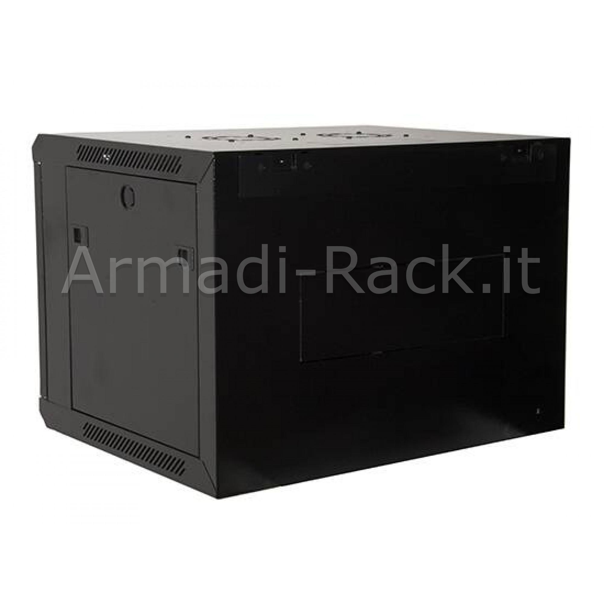 Armadio rack 9 unità da muro linea soho (a) 505 x (l) 600 x (p) 450 mm. colore nero RAL 9005