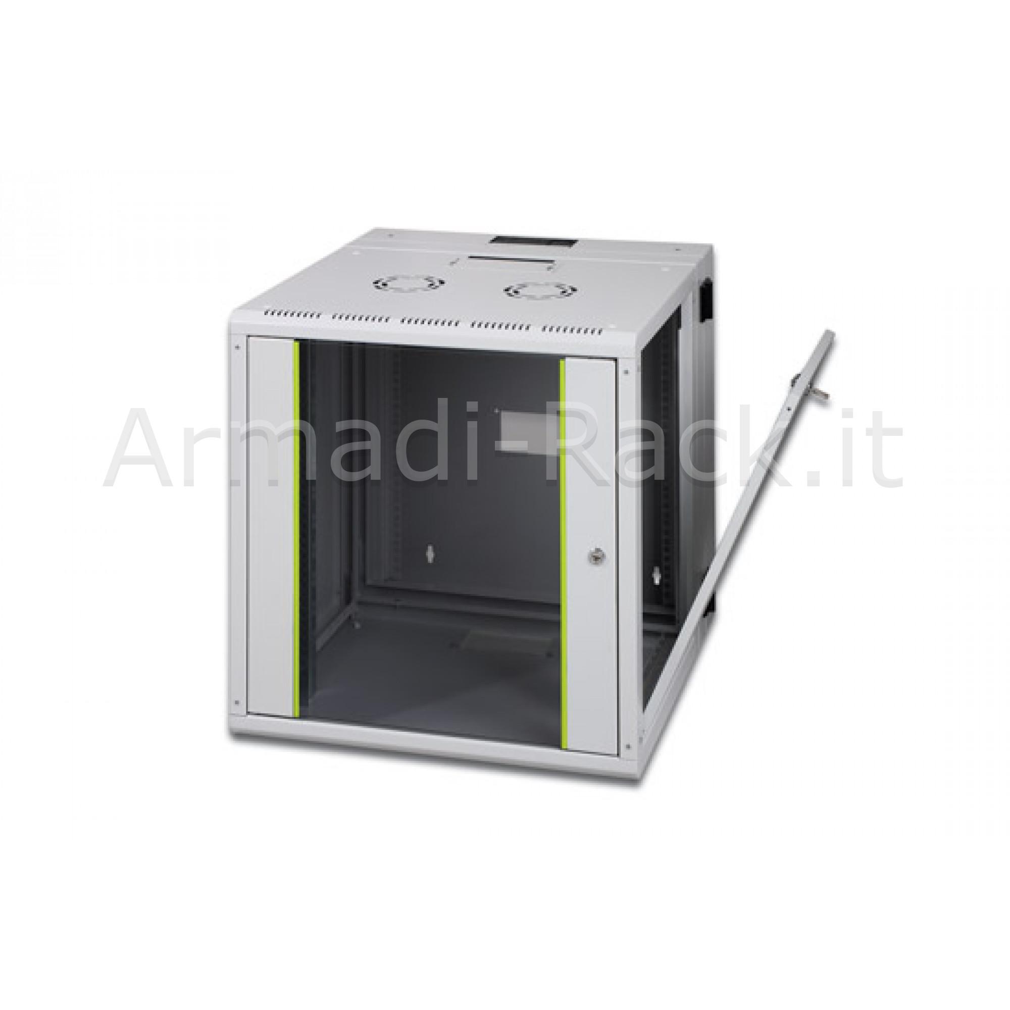 Armadio rack 12 unità da muro linea soho (a) 643 x (l) 600 x (p) 600 mm. con doppia sezione colore grigio chiaro ral 7035