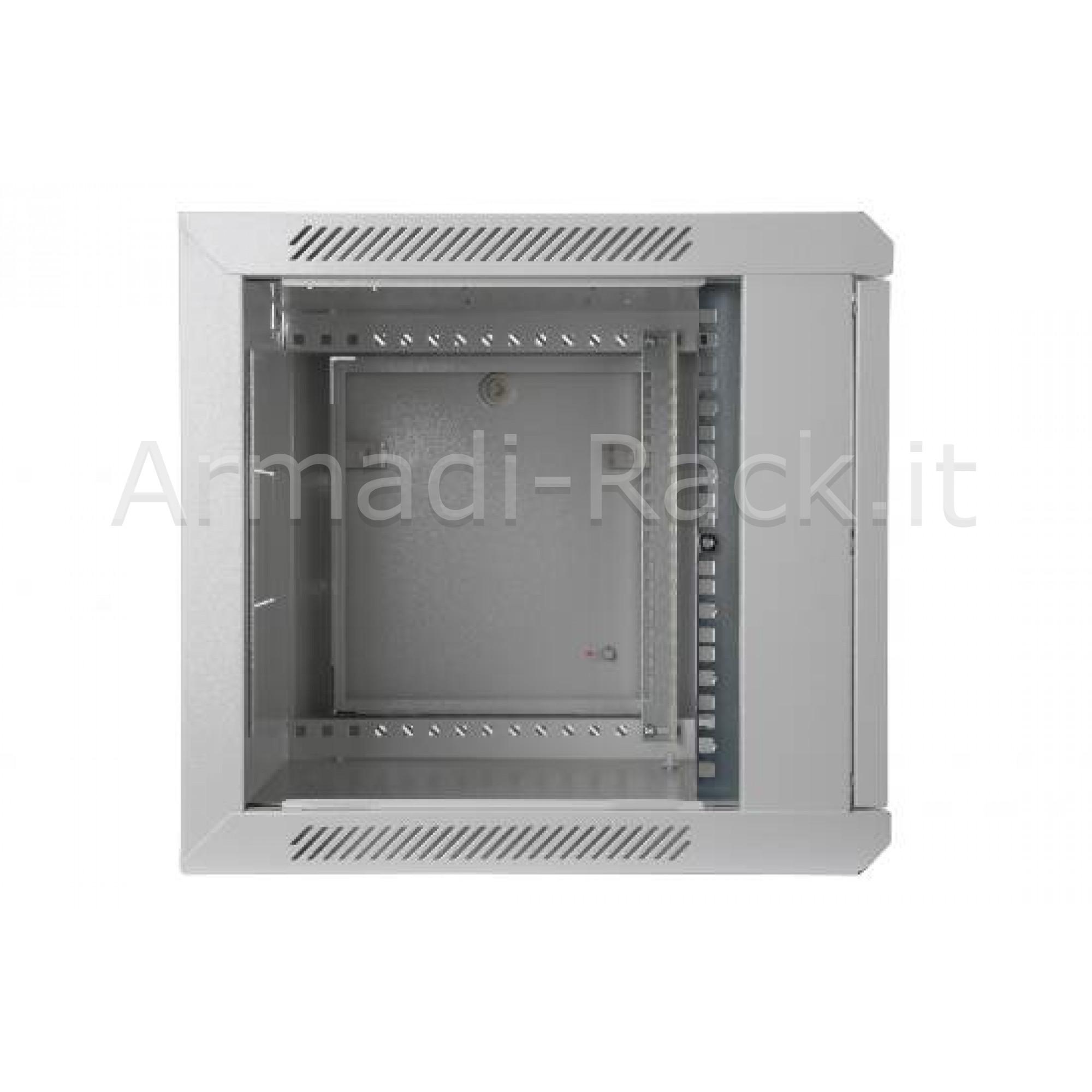 Armadio rack 12 unità da muro linea soho (a) 638 x (l) 600 x (p) 450 mm. colore grigio chiaro RAL 7035