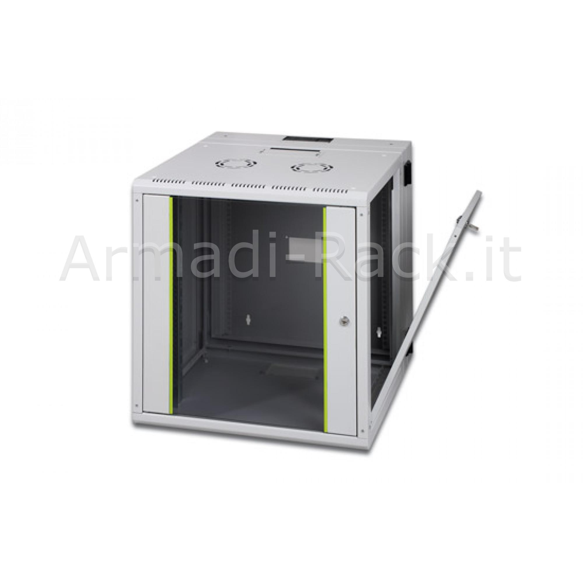 Armadio rack 16 unità da muro linea soho (a) 820 x (l) 600 x (p) 600 mm. con doppia sezione colore grigio chiaro ral 7035