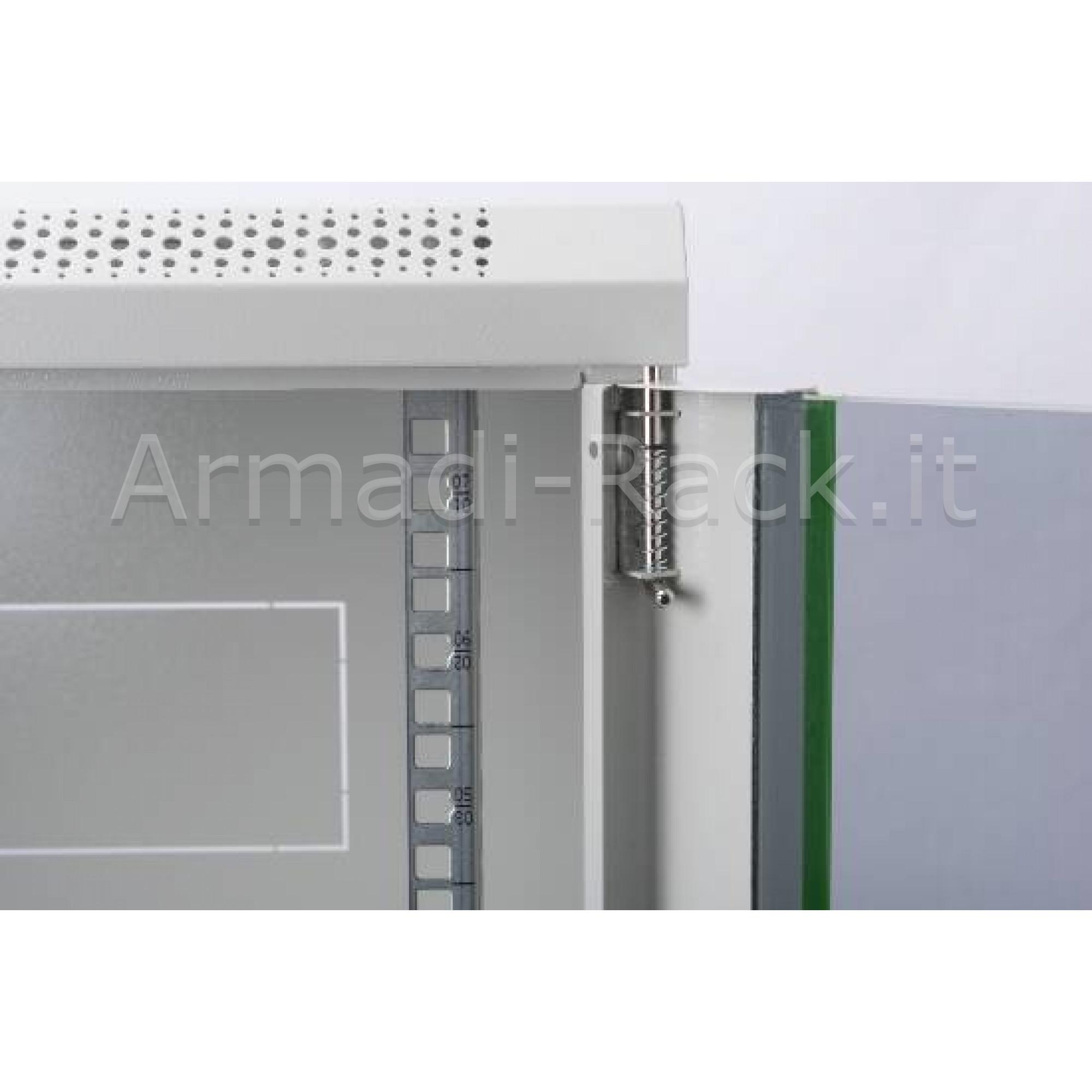 Armadio rack 16 unità da muro linea soho (a) 816 x (l) 600 x (p) 450 mm. colore grigio chiaro RAL 7035