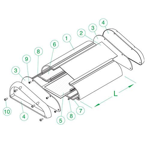 Contenitore in alluminio estruso lega 6060 per elettronica con frontale inclinato (da ordinare a parte) larghezza 118 mm