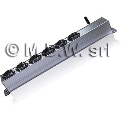 MultiPresa Professionale con controllo delle apparecchiature mediante SMS: 6 prese C13 IEC 60320, 16A Totale, Struttura in Alluminio