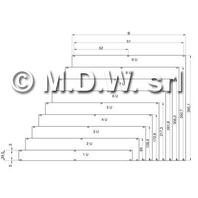 Frontalino in alluminio UNI 9005/1, spessore 2,5 mm, trattamento superficie anodizzato naturale isolante, 2U 84HP