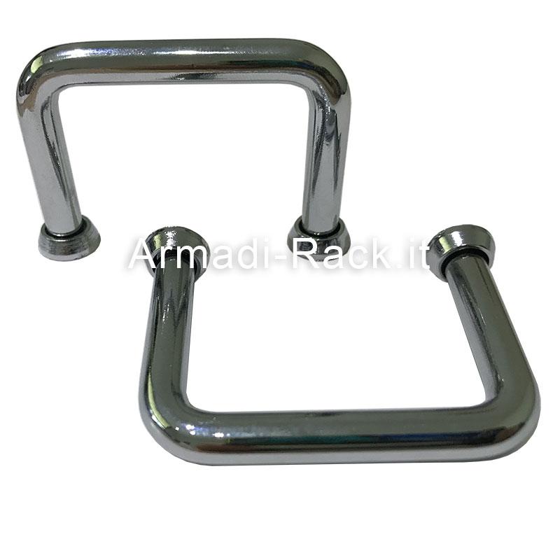 kit 2 Maniglie per contenitori rack 19 pollici 2 unità in acciaio cromato