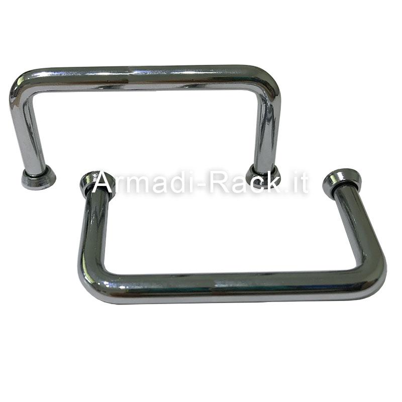 kit 2 Maniglie per contenitori rack 19 pollici 3 unità in acciaio cromato