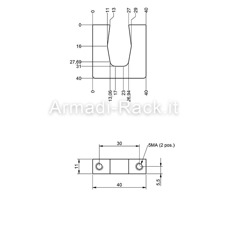 Kit coppia maniglie monoblocco in alluminio altezza 40 mm, filetto M5, per cassetti e subrack 1U