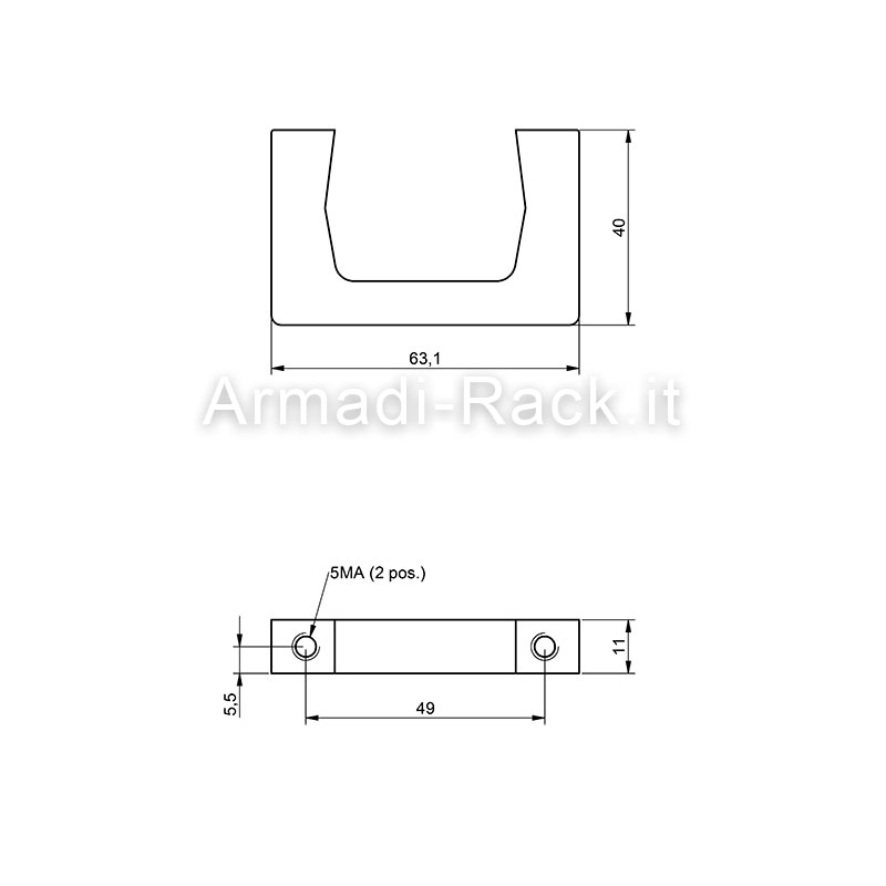 Kit coppia maniglie monoblocco in alluminio altezza 40 mm, filetto M5, per cassetti e subrack 2U