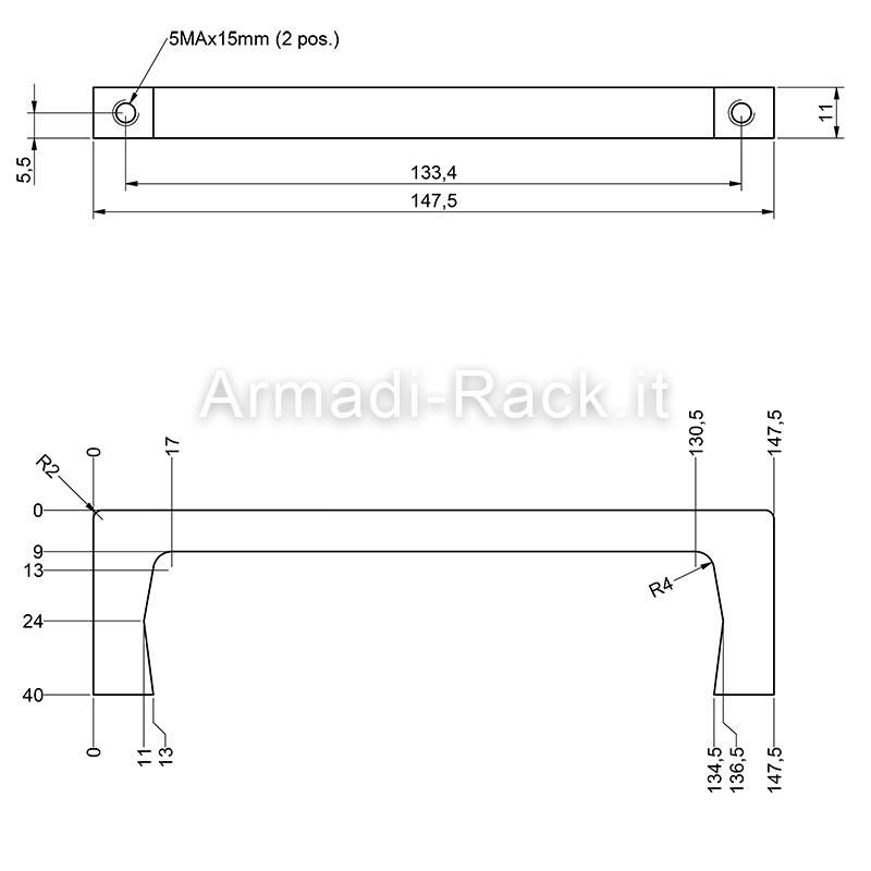 Kit coppia maniglie monoblocco in alluminio altezza 40 mm, filetto M5, per cassetti e subrack 4U