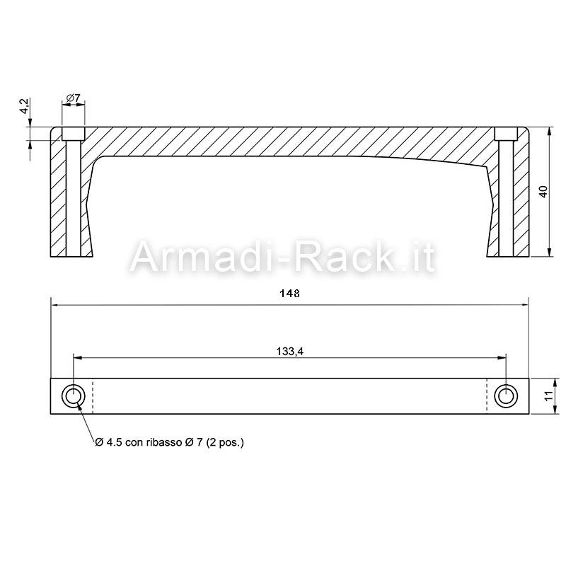 maniglie a ponte monoblocco in alluminio anodizzato h40 fori passanti