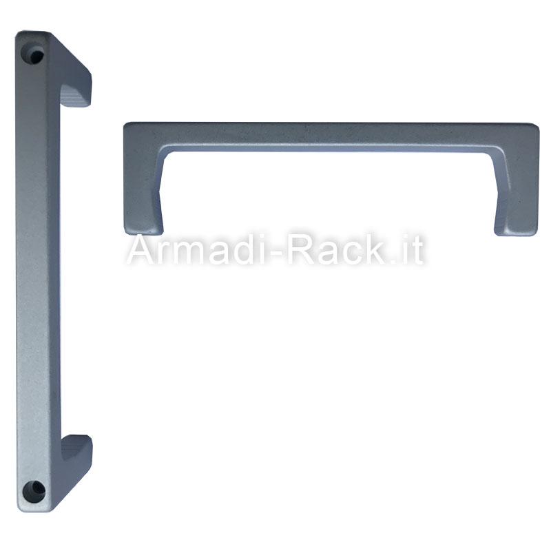 Kit 2 maniglie monoblocco in alluminio anodizzato naturale con fori passanti per viti M4, 4U