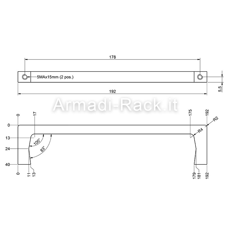Kit coppia maniglie monoblocco in alluminio altezza 40 mm, filetto M5, per cassetti e subrack 5U