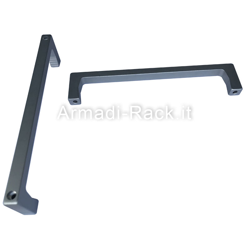Kit 2 maniglie monoblocco in alluminio anodizzato naturale con fori passanti per viti M4, 5U