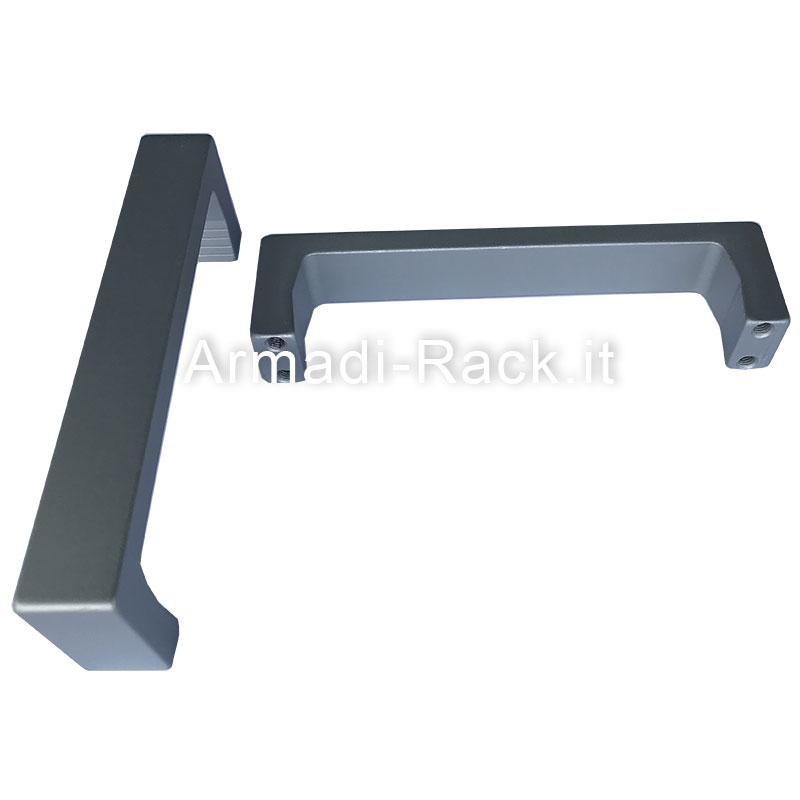 Kit 2 maniglie monoblocco doppie in alluminio anodizzato naturale 4U