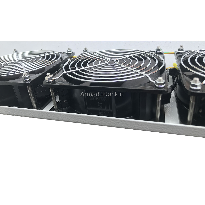 Pannello ventilante a 3 corpi (circolazione forzata di 9,6 metri cubi di aria al minuto in estrazione) colore grigio chiaro RAL7035
