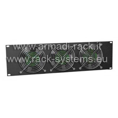 Pannello ventilante a 3 corpi (circolazione forzata di 9,6 metri cubi di aria al minuto) colore nero RAL9005