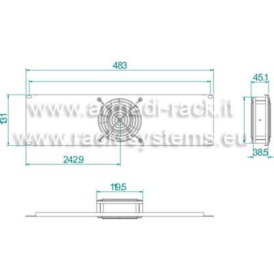 Pannello ventilante a 1 corpo (circolazione forzata di 3,2 metri cubi di aria al minuto) colore grigio chiaro RAL7035