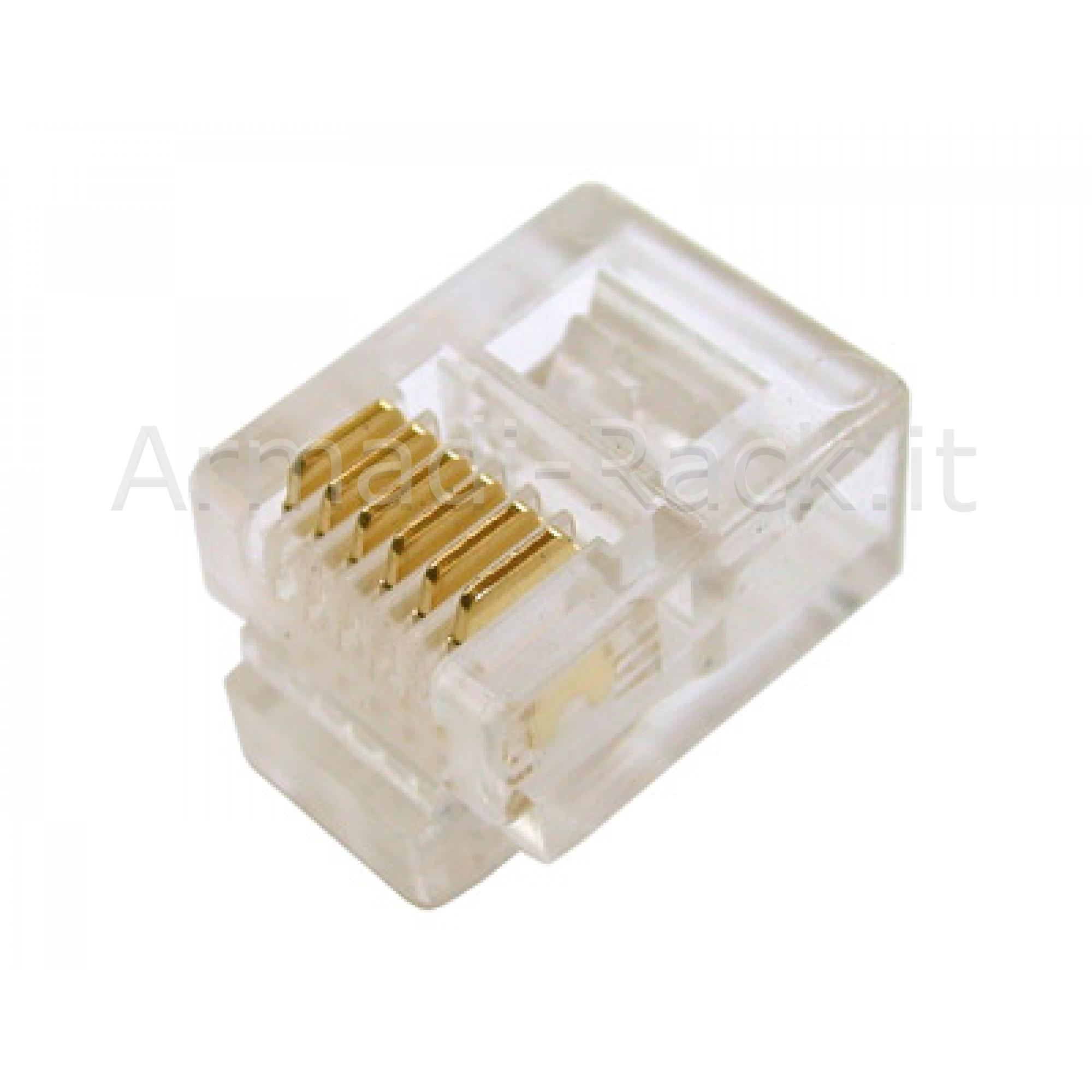CONNETTORE PLUG TELEFONICO 6 CONDUTTORI 6 POSIZIONI 6P6C RJ12 (A-MO 6/6 SF)