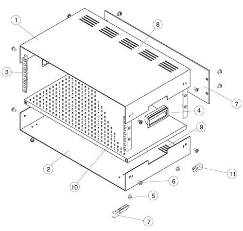 Contenitore standard rack alto 5U (228mm), largo 84TE/19 pollici (496mm), profondo 400 mm